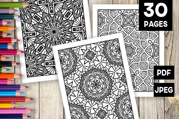 Print on Demand: 30 Relaxing Abstract Coloring Pages Graphic Coloring Pages & Books Adults By JM_Graphics