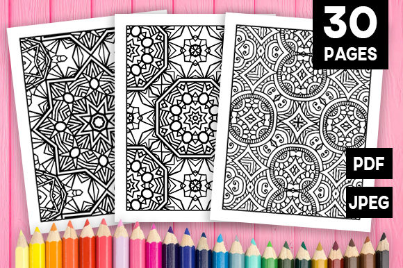 Print on Demand: 30 Wonderful Geometric Coloring Pages Graphic Coloring Pages & Books Adults By JM_Graphics - Image 1