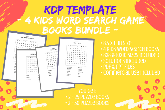 4 Fun KDP Kids Word Search Puzzle Books (Graphic) By Tomboy Designs ·  Creative Fabrica