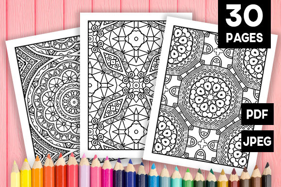 Print on Demand: Abstract Adult Coloring Pages 30 Pack Graphic Coloring Pages & Books Adults By JM_Graphics - Image 1