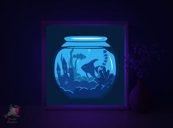 Aquarium Sea Fish Light Box Template Graphic 3D Shadow Box By SweetieGraphics