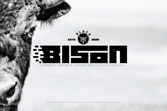 Print on Demand: Black Bison Display Font By Line creative