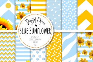 Print on Demand: Blue Sunflower Digital Paper Set Graphic Backgrounds By MutchiDesign