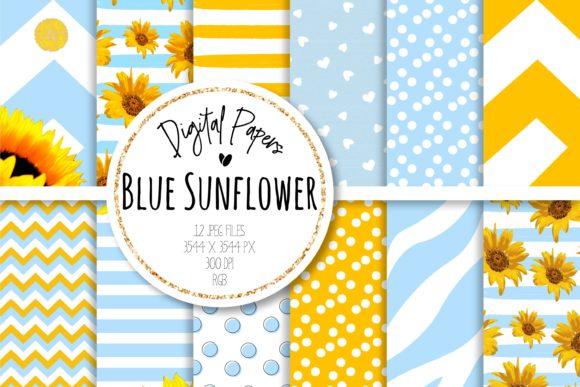 Print on Demand: Blue Sunflower Digital Paper Set Graphic Backgrounds By loyaarts