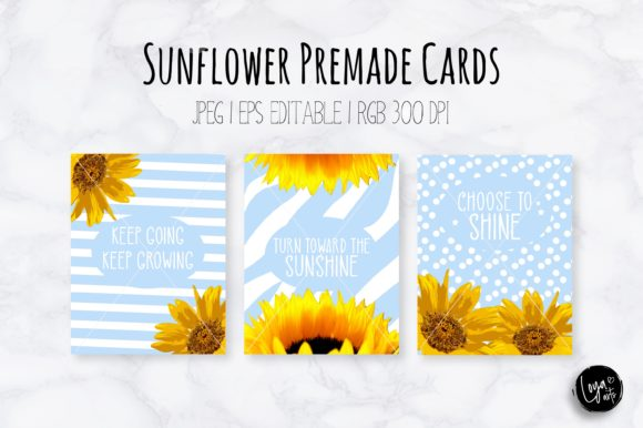 Print on Demand: Blue Sunflower Premade Greeting Cards Graphic Illustrations By loyaarts