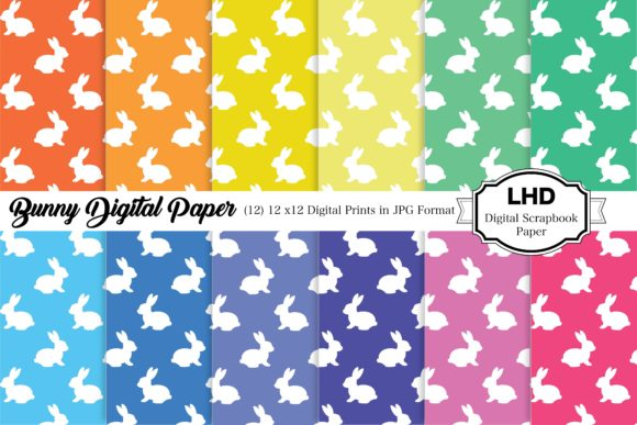 Bunny Digital Papers Graphic Patterns By LeskaHamatyDesign