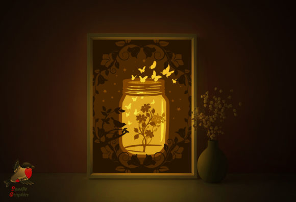 Butterfly Flower Lightbox Template Graphic 3D Shadow Box By SweetieGraphics - Image 1