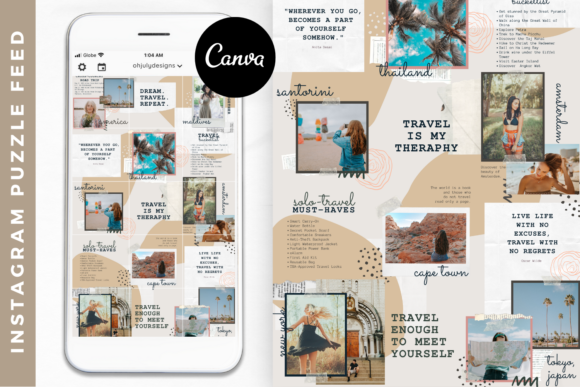 Canva Instagram Puzzle Feed Templates Graphic Graphic Templates By Oh July