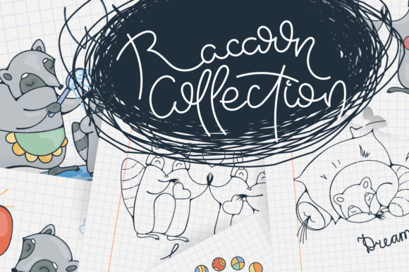 Print on Demand: Collection of Random Cute Raccoon Graphic Illustrations By Drekhann