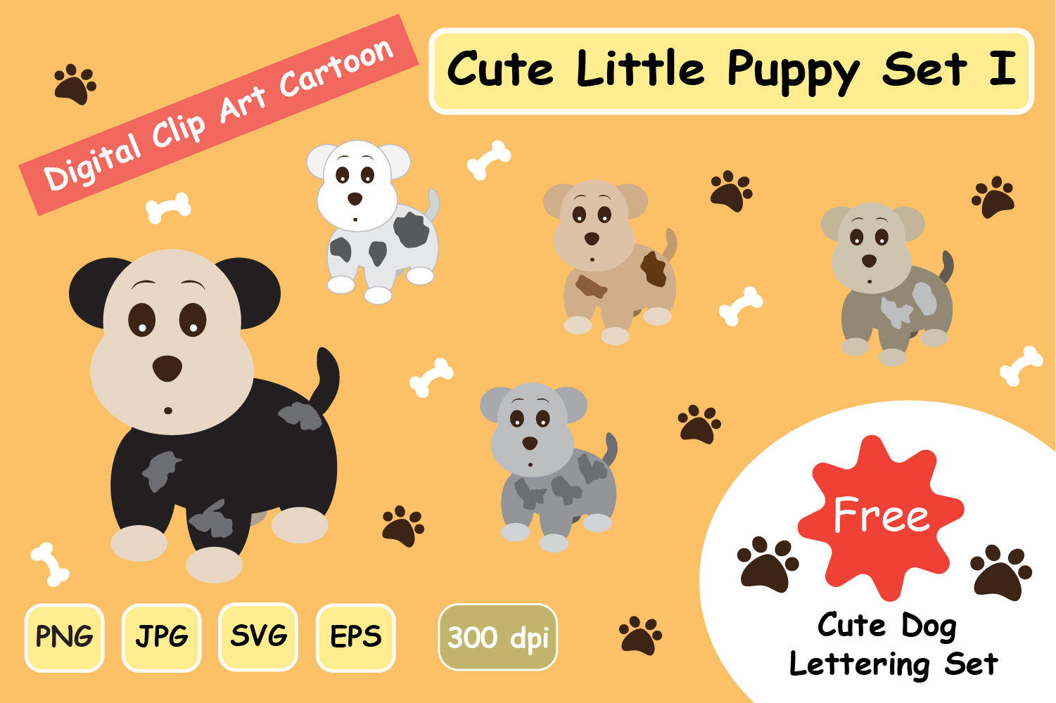 Cute Little Puppy Clipart Dog Svg Set 1 Graphic By Jennythip Creative Fabrica