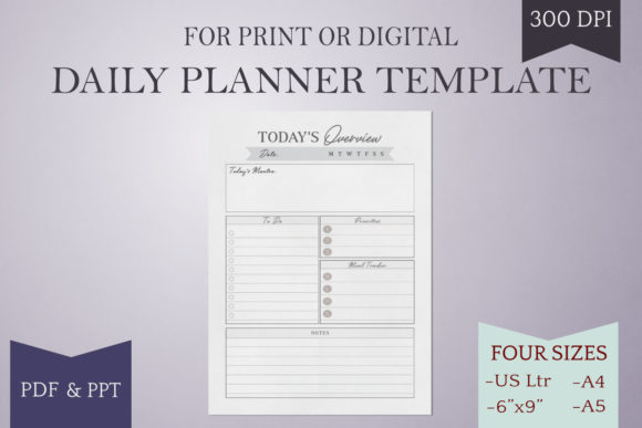 Print on Demand: Daily Planner Page - Printable - 4 Sizes Graphic Print Templates By Digital Town