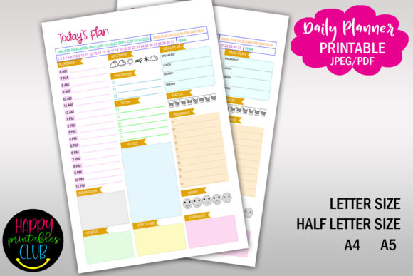 Daily Planner with Time- Day Schedule Graphic Print Templates By Happy Printables Club