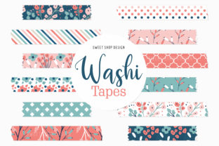 Digital Washi Tape Bright Florals Graphic Illustrations By Sweet Shop Design