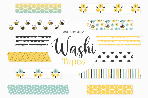Digital Washi Tape Bumble Bees Graphic Illustrations By Sweet Shop Design