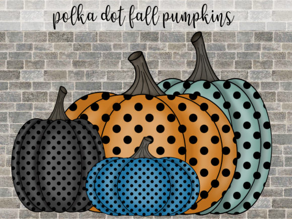Fall Pumpkins Polka Dot Graphic Illustrations By SusanTurpinDesign
