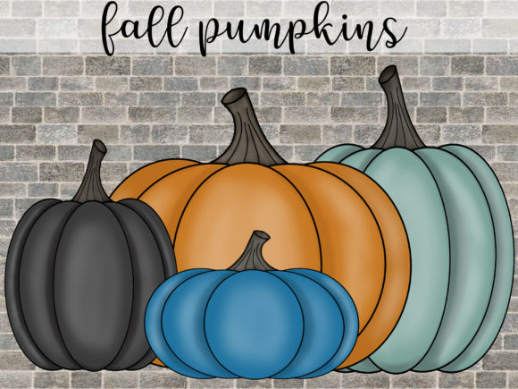 Fall Pumpkins in 4 Colors Graphic Illustrations By SusanTurpinDesign