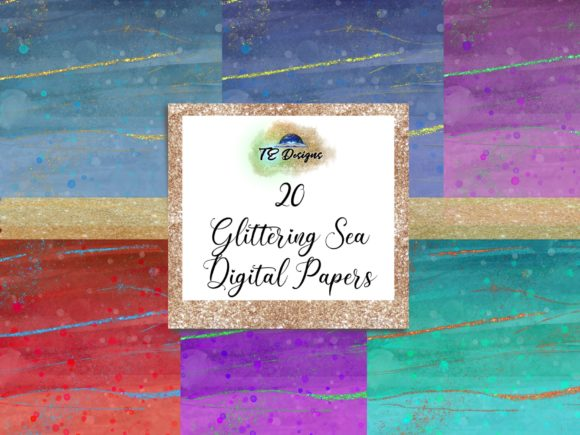 Print on Demand: Glittering Sea Digital Papers Graphic Backgrounds By TE Designs