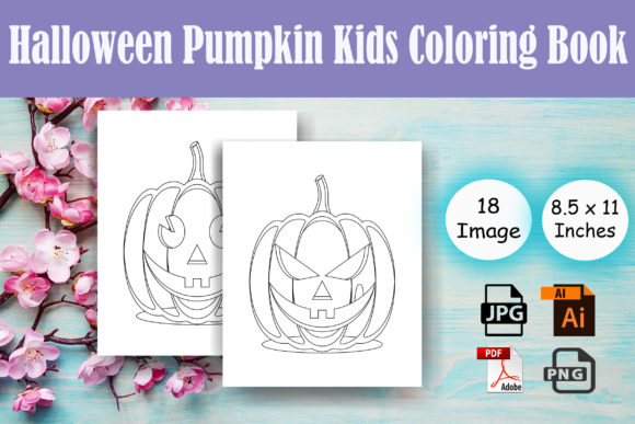 Halloween Pumpkin Kids Coloring Book Graphic Coloring Pages & Books By Sei Ripan