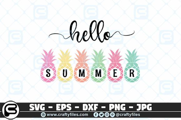 Hello Summer Pineapple Beach Time Graphic By Crafty Files Creative Fabrica