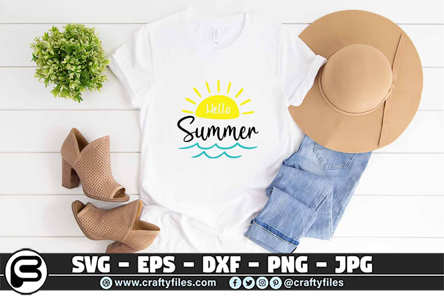 Hello Summer Svg Sunset Svg Beach Time Graphic By Crafty Files Creative Fabrica