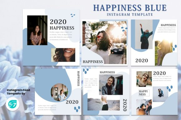 Instagram Feed Template - Happiness Blue Graphic Presentation Templates By 57creative