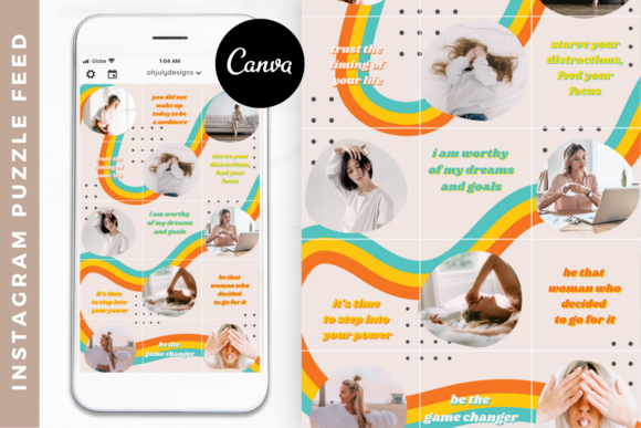 Instagram Templates Canva, Puzzle Feed Graphic Graphic Templates By Oh July