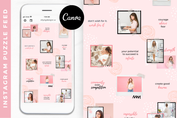 Instagram Templates Canva Puzzle Feed Graphic Graphic Templates By Oh July