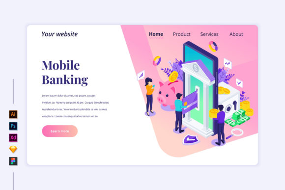 Isometric Online Banking Landing Page Graphic Landing Page Templates By agnyhasya.studios