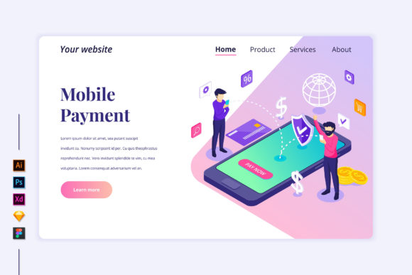 Isometric Online Payment Landing Page Graphic Landing Page Templates By agnyhasya.studios