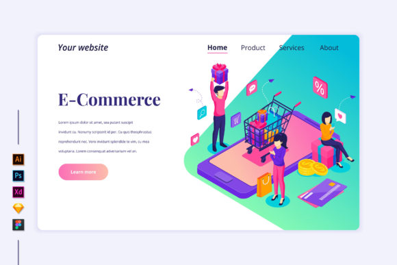 Isometric Online Shopping Landing Page Graphic Landing Page Templates By agnyhasya.studios