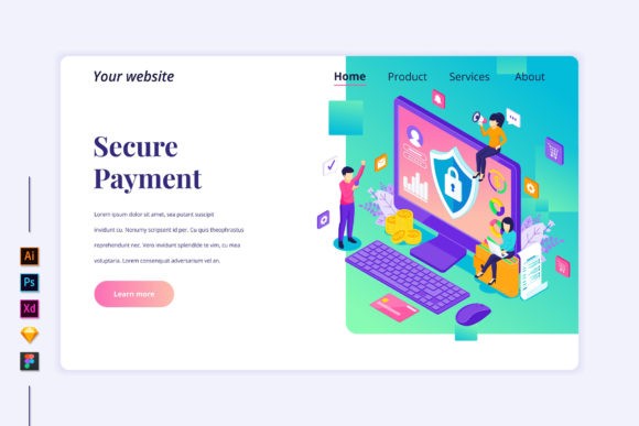 Isometric Secure Payment Landing Page Graphic Landing Page Templates By agnyhasya.studios