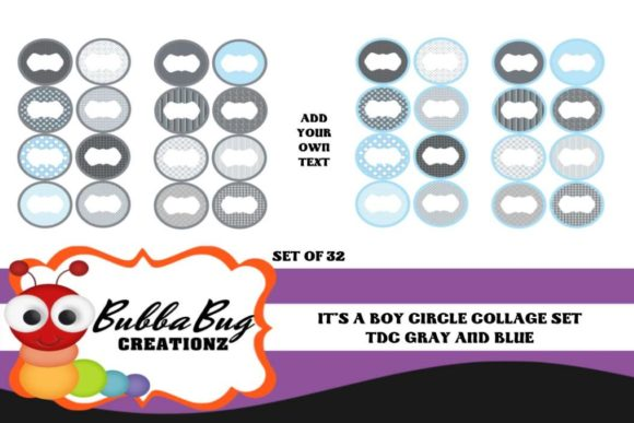 It's a Boy Circle Collage Set Graphic Crafts By BUBBABUG