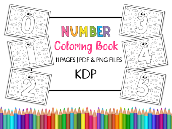 KDP Number Coloring Book for Kids Graphic Coloring Pages & Books Kids By Miss Cherry Designs - Image 1