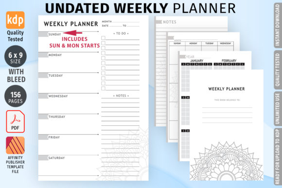 KDP Undated Weekly Planner Graphic KDP Interiors By Low Content Templates