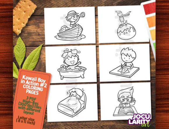 Kawaii Boy in Action #2 Coloring Page Graphic Coloring Pages & Books Kids By JocularityArt