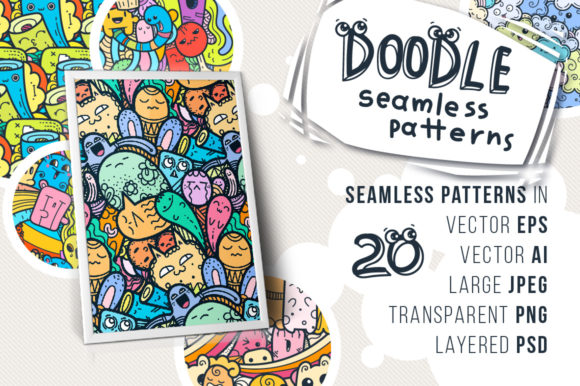 Print on Demand: Kawaii Doodle Patterns and Colorings Graphic Patterns By Drekhann - Image 1