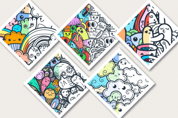 Print on Demand: Kawaii Doodle Patterns and Colorings Graphic Patterns By Drekhann - Image 3