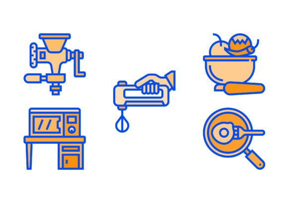 Print on Demand: Kitchen Tools Two Colours Graphic Icons By myvector