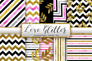 Print on Demand: Love Glitter Background Digital Papers Graphic Backgrounds By PinkPearly