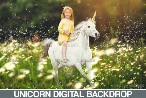 Majestic Unicorn Backdrop & Flower Graphic Actions & Presets By 2SUNS