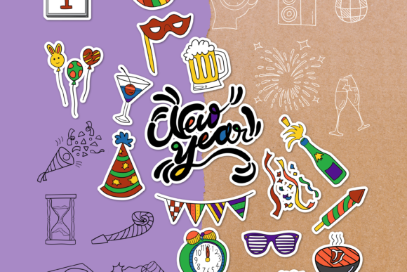 New Year Doodle Clipart Pack - 4 Styles Graphic Objects By WADLEN