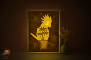 Parrot Beach Sea Light Box Template Graphic 3D Shadow Box By SweetieGraphics