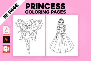 Print on Demand: Princess Coloring Pages for Kids Graphic Coloring Pages & Books Kids By MK DESIGNS