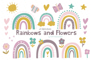 Print on Demand: Rainbows and Flowers Clipart Graphic Illustrations By poppymoondesign