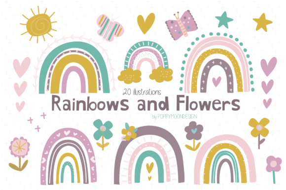 Print on Demand: Rainbows and Flowers Clipart Gráfico Ilustraciones Por poppymoondesign