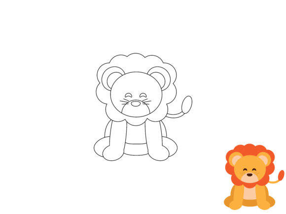 Kids Coloring Lion Animal Vector Graphic Coloring Pages & Books By vijackstudio