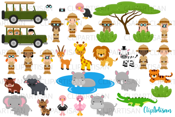 Safari Clipart, African Safari Tour Graphic Illustrations By ClipArtisan