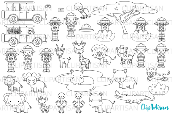 Safari Digital Stamps, Clip Art Graphic Illustrations By ClipArtisan