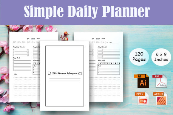 Simple Daily Planner - KDP Interior Graphic KDP Interiors By Sei Ripan