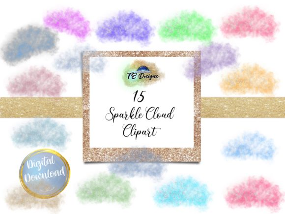 Print on Demand: Sparkle Clouds Clipart Graphic Illustrations By TE Designs